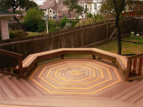 custom-decking-images-octagonal-shaped-backyard-decking-low-half-octagonal-backyard-wood-seat-5-levels-step-stairs-decking-with-wooden-railing-deck-image-exterior-outdoor-interesting-deck-images