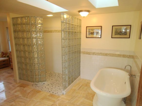 Image-7-Glass-block-shower-wall-and-base-with-stand-alone-tub-nashua-new-hampshire