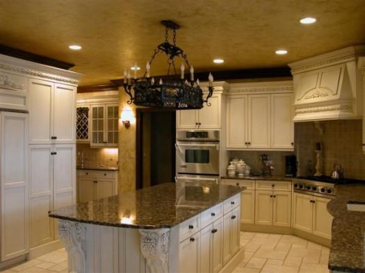 kitchen-classic-white-tuscan-italian-kitchen-decor-with-black-granite-countertop-also-white-light-bulb-faux-bronze-chandelier-in-black-onyx-tuscan-italian-kitchen-decor-610x457