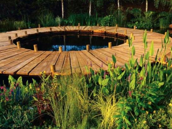 Stunning-Backyard-by-Building-a-Deck-With-round-wooden-deck-flooring-design